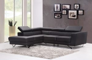 Black angular sofa